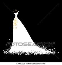 Clip Art Wedding dress white on hangers Fotosearch Search Clipart Illustration Posters