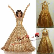 Real Photo Gold Flower Girl Dress Girls Pageant Dresses Kids Prom First Communion Vestido Daminha Casamento In From