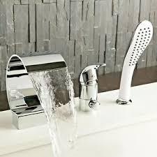 details zu luxus 3 loch set badewannen armatur handbrause badewanne wasserfall wannenrand
