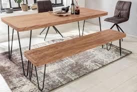 finebuy sitzbank 180 x 40 cm harlem akazie holz bank für esstisch massiv küchenbank massivholz essbank ohne lehne für esszimmer