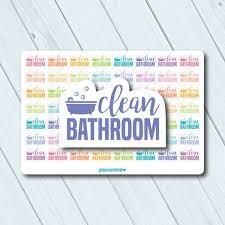 saubere badezimmer sticker wort umriss erin condren planner glücklich planner reinigung wc waschbecken matt oder glänzend