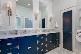 navy blue caign washstand vanity contemporary bathroom