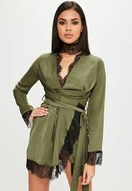 Carli Bybel Halloween by Carli Bybel X Missguided Khaki Satin Lace Wrap Dress Missguided