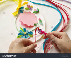 Decorate With Stripes Of Paper Quilling Hands Child While Creative Work Making Decorations