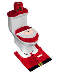 Red Bathroom Rug Set by Santa Toilet Seat Cover And Rug Set Review Christmas Decorations