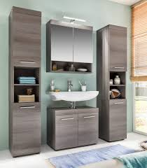 badezimmer möbel badmöbel set runner 4 teilig sardegna rauchsilber grau mit hochschrank und spiegelschrank