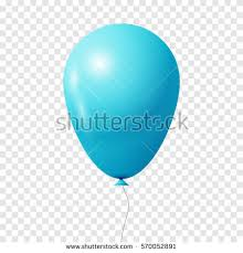 Realistic light blue balloon Isolated on white transparent background Vector illustration eps 10