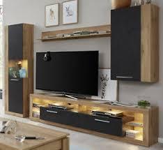 details zu wohnzimmer wohnwand eiche wotan und matera schrankwand mit lowboard rock 270 cm