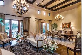 Great Room Curtain Ideas Dining Mediterranean With High Ceiling Formal