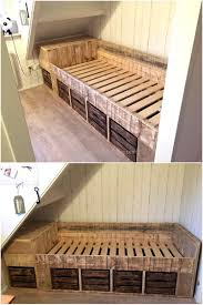 Pallet Bed Frame by Creative Creations With Reclaimed Wooden Pallets Wood Pallet