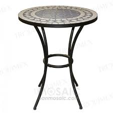 Bar Height Bistro Patio Set by Round Metal And Ceramic Mosaic Table For Outdoor Garden Triquimex