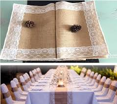 Wholesale Burlap Lace Table Runner Chair Ribbon Jute Country Rustic Wedding Party Decor Home Banquet