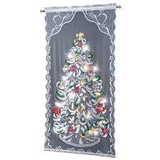 Christmas Tree Amazon Prime by Amazon Com Lighted Christmas Tree Curtain Panel Home U0026 Kitchen