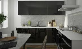 l form einbauküche küchenzeile 230x210cm grau front schwarz
