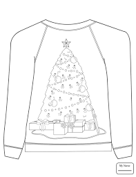 Christmas Ugly Sweater With Tree Motif Coloring Page