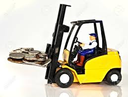 100 Toy Forklift Truck A Fork Lift Lifting A Pallet Full Of Money Stock Photo