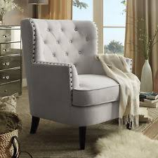 Modern Accent Chair Button Tufted Armchair Living Room Furniture Beige Polyester