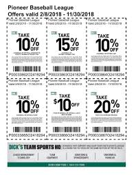 Pioneer Baseball League Coupons For Dickssportinggoods In Store Printable 2016 89 Additional Inperson Basesoftballteerookie Ball Officemax Coupon Codes Blog Printable Home Depot Coupons 2018 Dover Coupon Codes Beautyjoint Code November Crate And Barrel Promo Singapore Owlcrate 2019 For Hibbett Sporting Goods Tokyo Express Vitaminlife Dicks 5 Best Sporting Goods Promo Sep Raider Image Free Shipping Wwwechemistcouk Add A Fitness Tracker In The App
