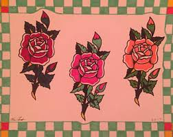 9x12 Sailor Jerry Flowers Traditional Tattoo Flash Sheet