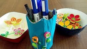 Art And Craft For Kids From Waste Material How To Make Bowls Pen Stand