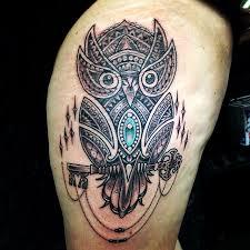 Cute Custom Mosaic Owl Tattoo On Half Sleeve