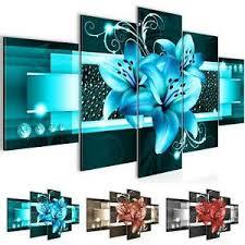 details zu wandbild modern wohnzimmer blumen lilien türkis schlafzimmer deko bilder