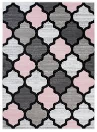 teppich kurzflor rosa grau creme pink modern geometrisch marokkanisch meliert design kinderzimmer wohnzimmer ökotex