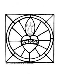 Two Coloring Pages Sacred Heart Of Jesus And The Immaculate Mary Stained
