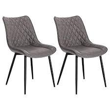 woltu esszimmerstühle bh210dgr 2 2er set küchenstuhl polsterstuhl wohnzimmerstuhl sessel mit rückenlehne sitzfläche aus kunstleder metallbeine