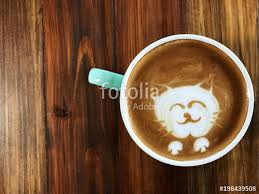 Cute Cat Face Latte Art Coffee In White Cup On Wooden Table Love