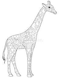 Download Giraffe Coloring Book For Adults Vector Illustration Stock