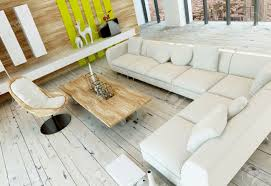 hohe winkel der rustikalen wohnzimmer innenraum mit weiß lackierten holzdielen holz getäfelten wand und eine lange ecke weiße polsterliege oder