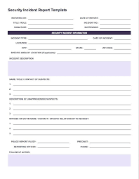 Free Incident Report Templates Security Reporting Cyber Response Plan Sample