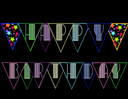 Neon Glow Black Light Happy Birthday Banner Bunting Instant