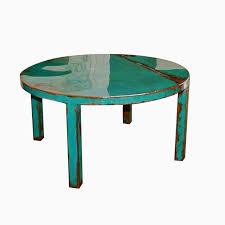 Custom Made Round Metal Coffee Table Art With Beautiful Turquoise And Jade Green Paint Color