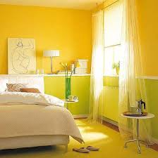 Yellow Walls Painting Ideas For Bedroom Decorating Creamy White Green Color Combination