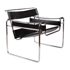 100 Modern Metal Chair Vintage Marcel Breuer Mid Century Wassily Black Strap Leather