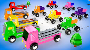 Colors For Children To Learn With Wooden Monster Trucks Toy Vehicles ...