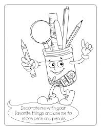 School Supplies Coloring Sheets