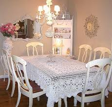 Lovely Shabby Chic Dining Room With A Wall Mirror And Chandelier Over Table Tablecloth