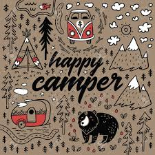 Happy Camper Vector Hand Drawn Card Cartoon Camping Print Stock