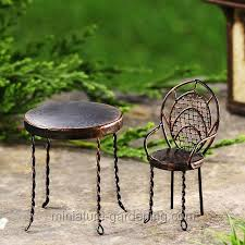 Parlor Table And Chair Miniature Gardening
