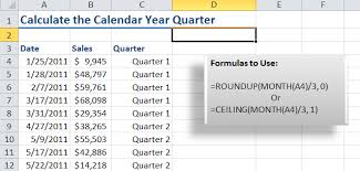 Ceiling Function Excel 2007 by How To Calculate The Calendar Year Quarter For A Date In Excel