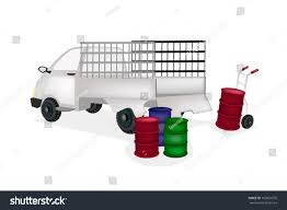 Hand Truck Dolly Loading Oil Drums Stock Vector (Royalty Free ...