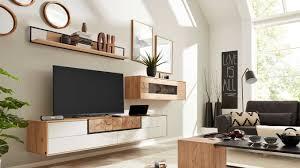 interliving wohnzimmer serie 2106 wohnwand 620002w weißer lack asteiche dreiteilig breite ca 290 cm