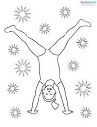 Printable Coloring Page Girl Doing Cartwheel
