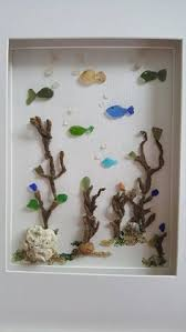 Sea Glass Art Framed Bathroom Wall Decor Costal Nautical Beach
