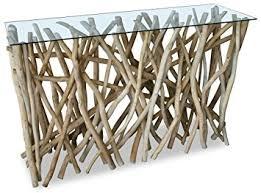 cuisine bois flotté console design en bois flotté teck 77 x120cm amazon fr cuisine