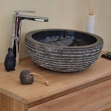 vasque à poser en marbre noir marmo ronde ø 40 cm
