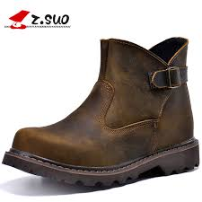 Z Suo Brand 327 Style Mens Autumn Vintage Buckle Design Genuine Leather Work Boots Male